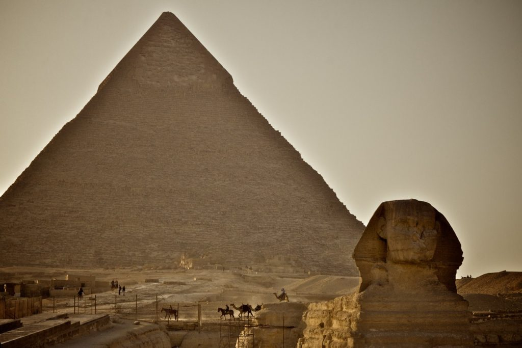 A view of the Great Pyramids of Egypt with the Sphinx in the foreground.  Photo credit: Travels with Gannon & Wyatt.