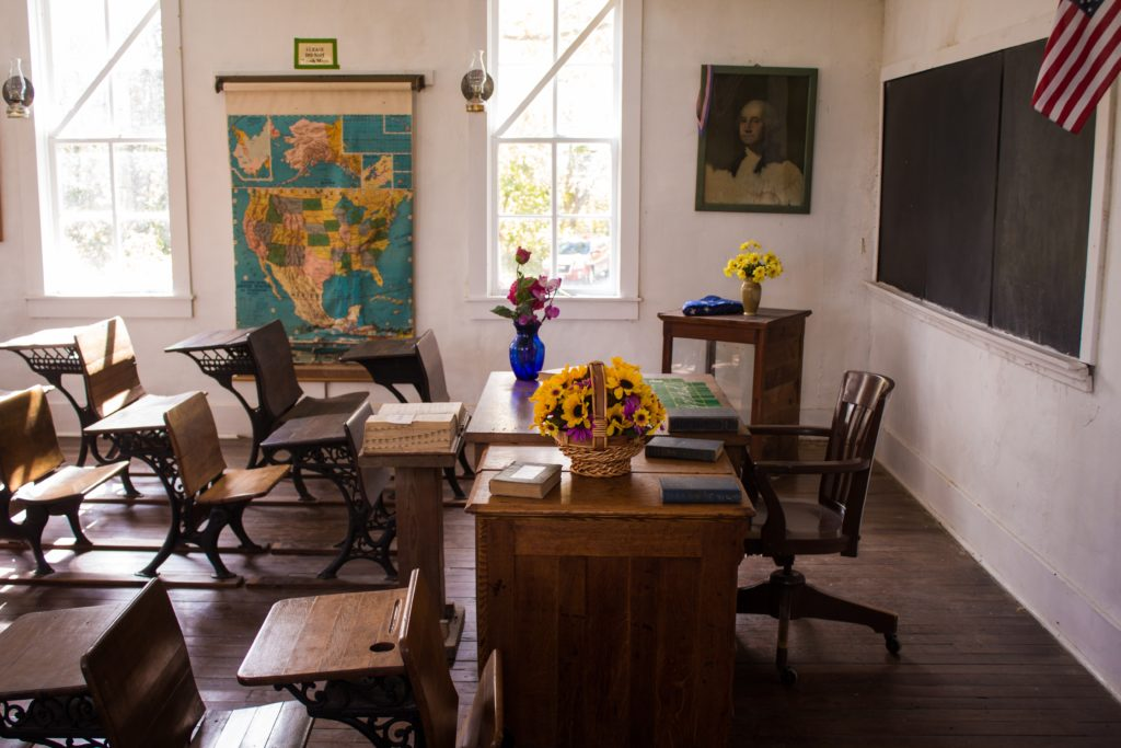 The interior of a one room schoolhouse.