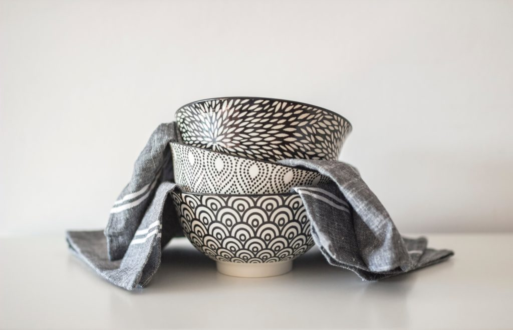 A stack of serving bowls ready to receive your holiday dinner food!