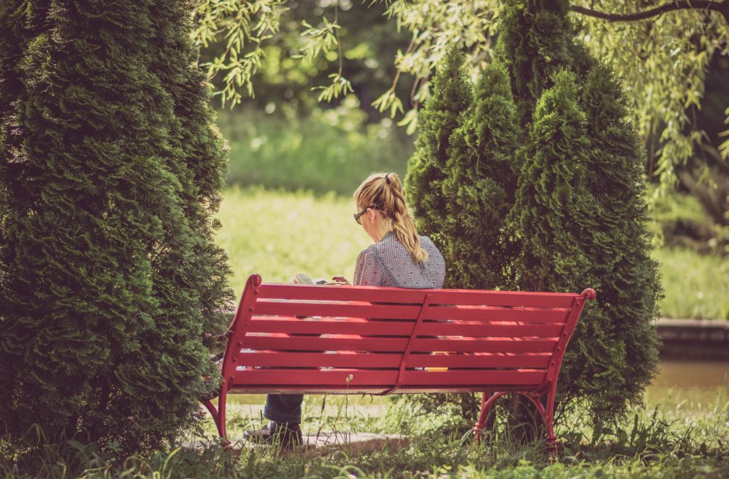 A lady sitting on a red park bench in between two fir trees, reading a book.