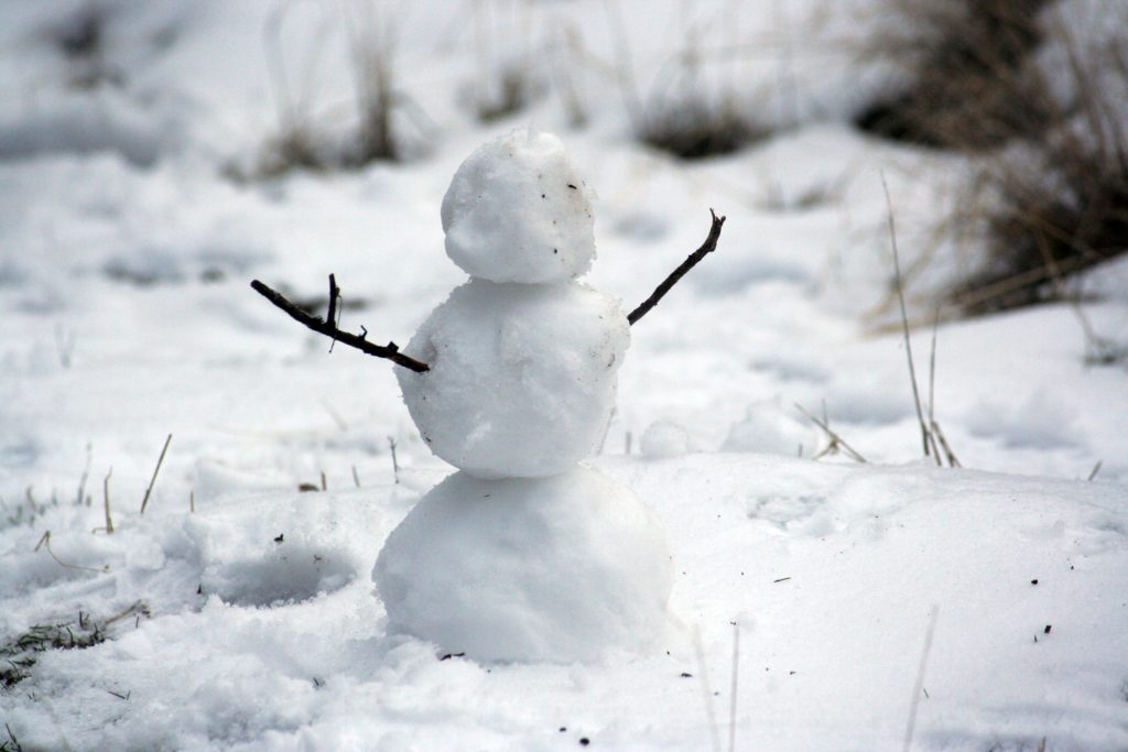 A tiny snowman hanging on while the grass is starting to show through the snow around him.