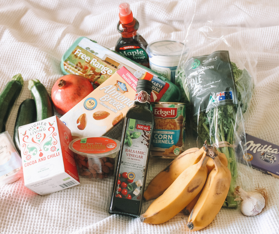 A group of healthy foods looking like you just got back from the grocery store.