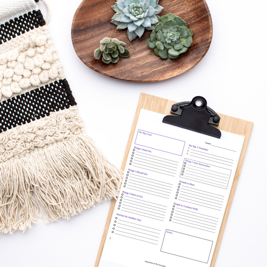 A clipboard with a complex to do list attached. The to do list template is available as a free download.