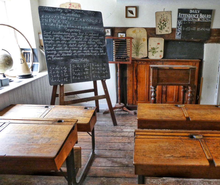 A one room schoolhouse classroom.