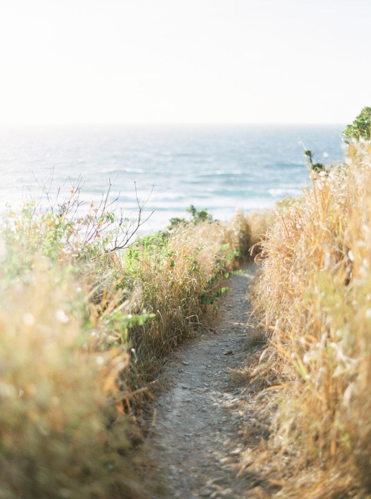 A walking path through beach grass near the water.