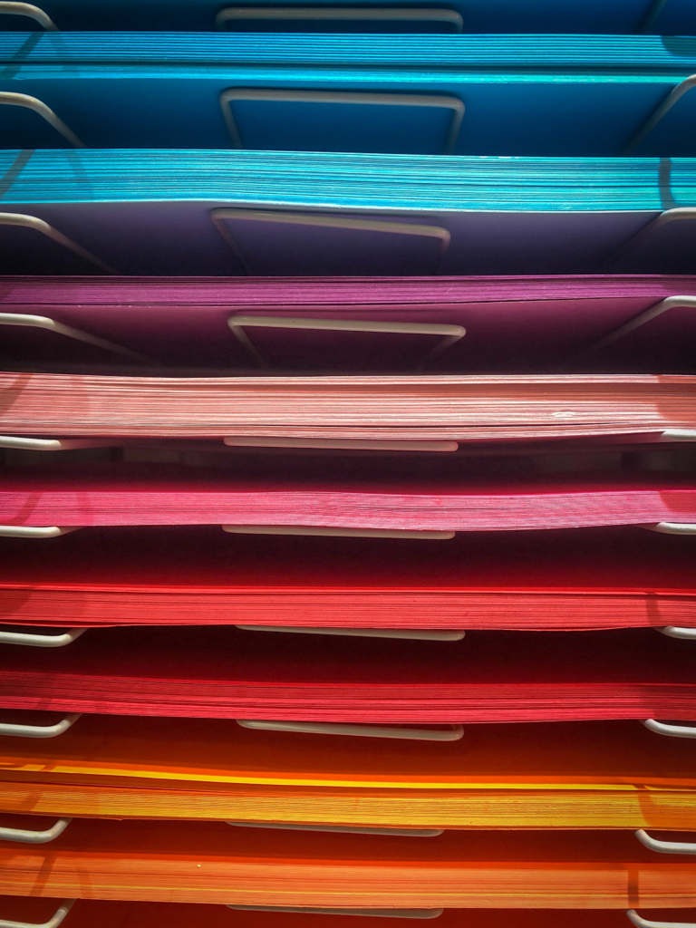 An example of a colorful paper holding zone.