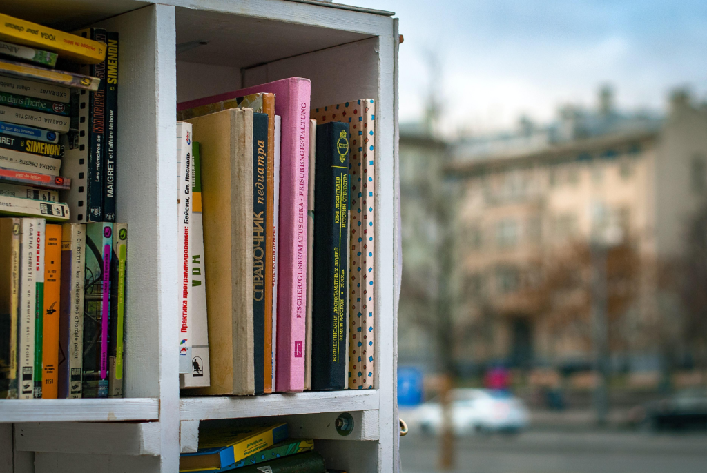 A cubby bookshelf.  One that could easily be used to give each child their own individual space.