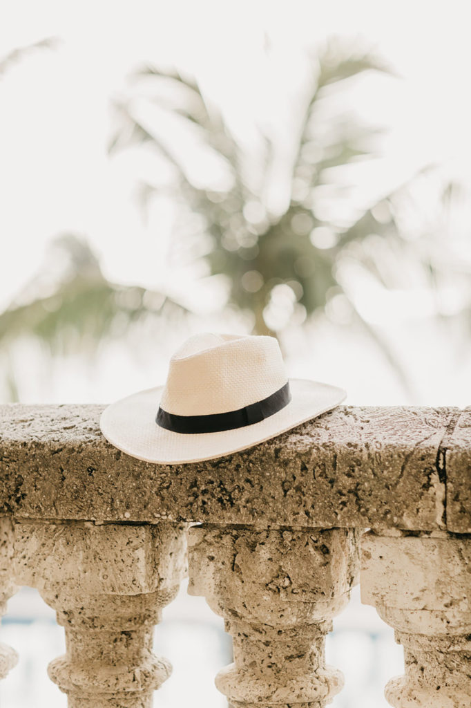 A white hat with a dark brown band perched on the edge of a columned rail with palm trees in the background.