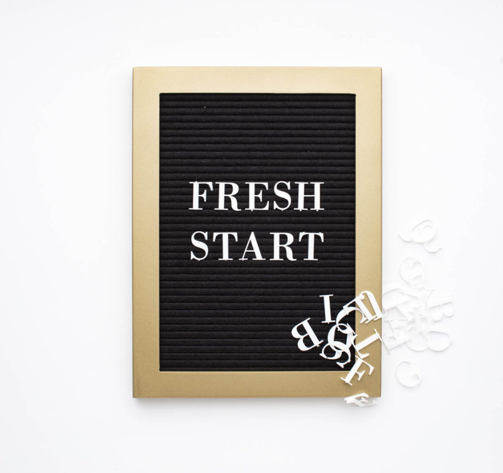 A black board with white letters spelling out 'Fresh Start.'  Each school year is a fresh start!