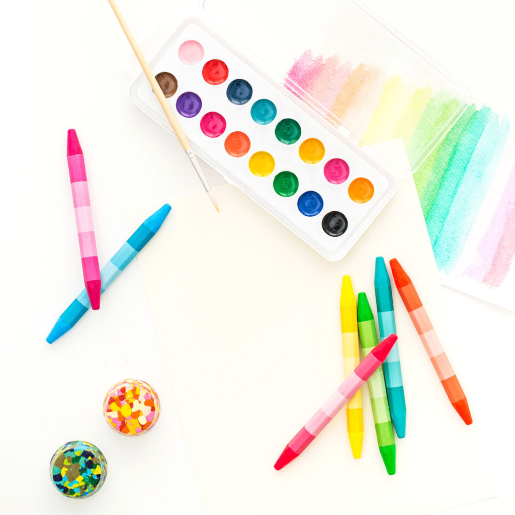 Watercolors, crayons, colorful paper and other art supplies like those you need for homeschooling.