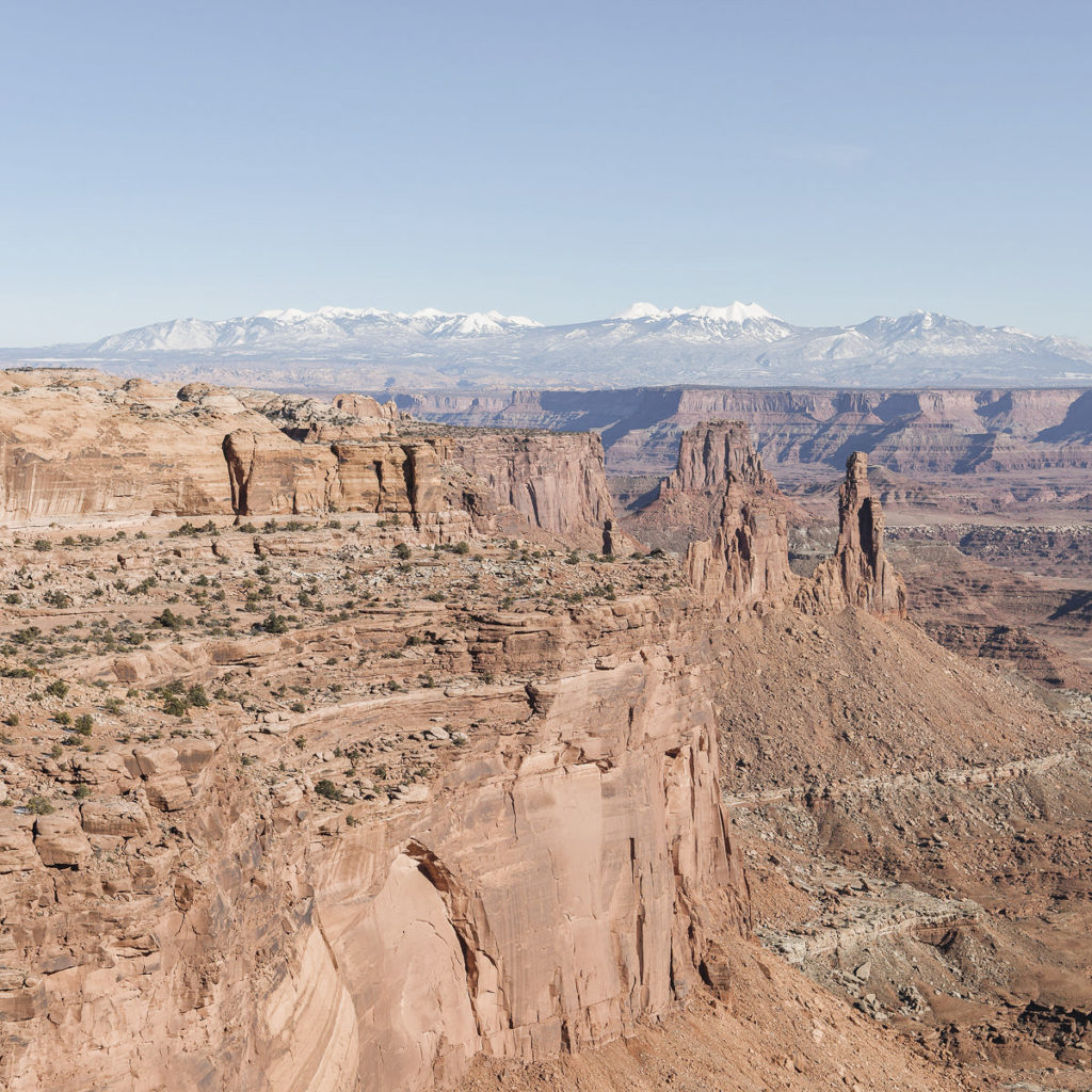 A beautiful panoramic view of rock outcroppings that have been worn away by time. A classic view at one of America's national parks.