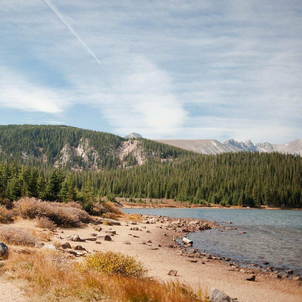 A pristine view of a rocky shoreline with trees and mountains in the background.  Scenery like you might see at a national park.