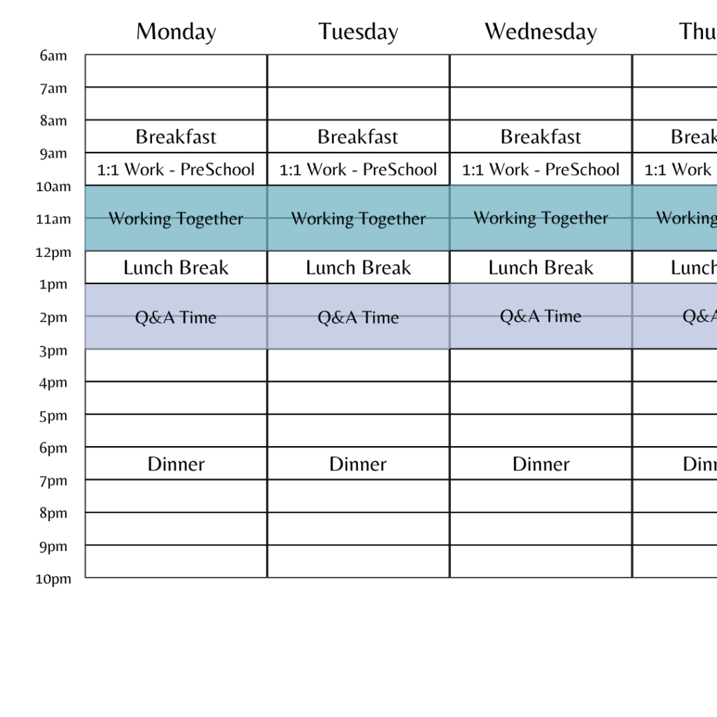 An example of a time blocking grid set up for a daily homeschooling schedule.