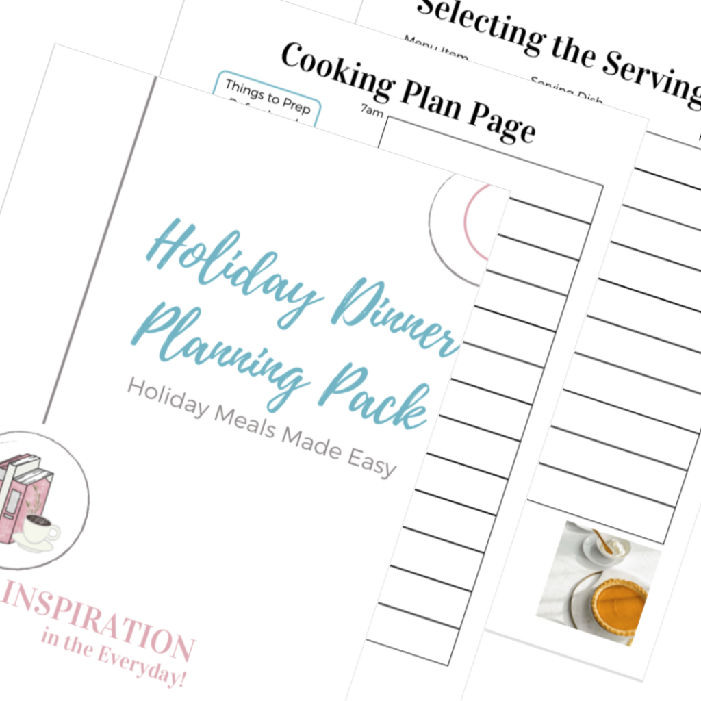 A glimpse inside the Holiday Dinner Planning Pack.