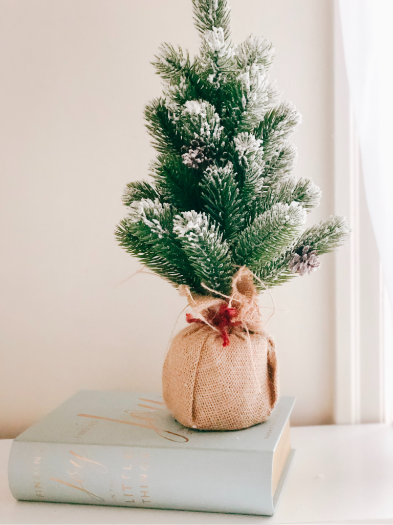 A tiny Christmas tree sitting on top of a book.