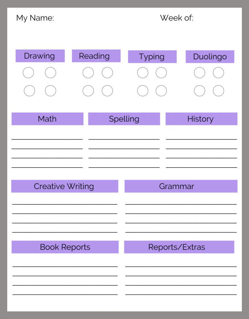 An example of how we set up our homeschool daily lists for middle school students.