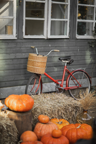 A red bicycle with a wicker basket leaning against a gray building with pumpkins nearby.