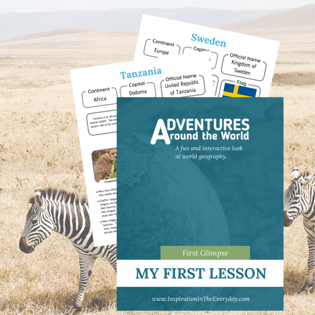 The cover of the Adventures Around the World First Lesson with zebras in the background.